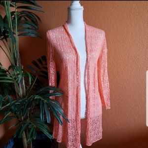 Jones New York Loose Knit Long Open Cardigan Coral
